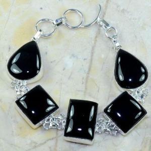 On 0413a bracelet onyx noir achat vente bijou 1900 belle epoque argent 925