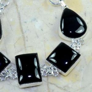 On 0413b bracelet onyx noir achat vente bijou 1900 belle epoque argent 925