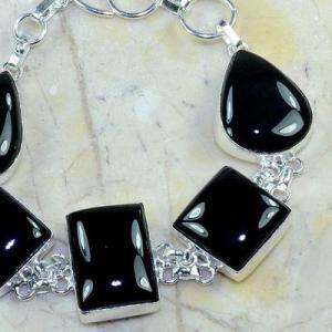 On 0413c bracelet onyx noir achat vente bijou 1900 belle epoque argent 925