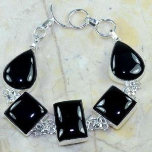 On 0413d bracelet onyx noir achat vente bijou 1900 belle epoque argent 925
