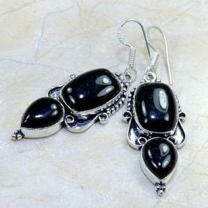 On 0415a boucles pendants oreilles onyx noir parure bijou 1900 achat vente