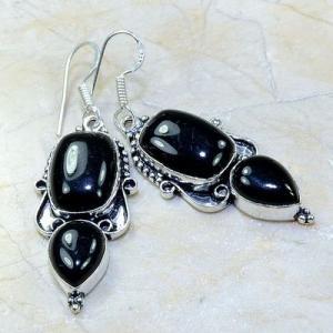 On 0415b boucles pendants oreilles onyx noir parure bijou 1900 achat vente