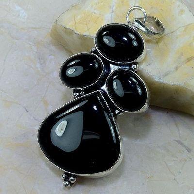 On 0417b pendentif pendant onyx noir achat vente bijou argent 925