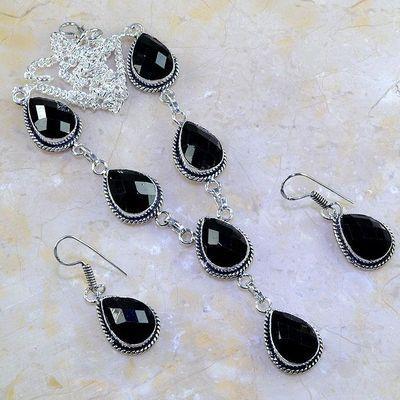 On 0419a parure boucles oreilles collier sautoir onyx noir bijou 1900 art deco achat vente