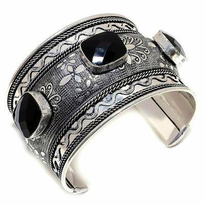 On 0677a bbracelet torque 45mm onyx noir 14x18mm bijou medieval gothique steampunk argent 925