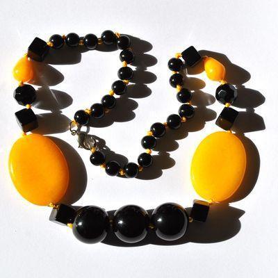 On 1186a collier parure sautoir 94gr onyx noir agate 30x35mm ethnique 1