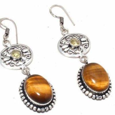 Ot 1002c boucles pendants oreilles 14gr oeil de tigre citrine argent 925 achat vente bijoux 1 1