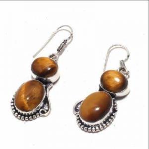 Ot 1006b boucles pendants oreilles 13gr oeil de tigre argent 925 achat vente bijoux 1 1