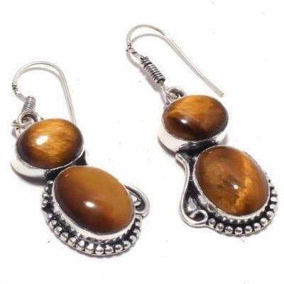 Ot 1006c boucles pendants oreilles 13gr oeil de tigre argent 925 achat vente bijoux 1 1