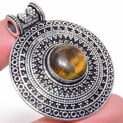 Ot 1011c pendentif pendant 16gr 12x40mm oeil de tigre argent 925 achat vente bijoux 1 1