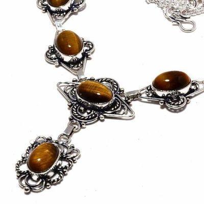 Ot 1017b collier sautoir parure oeil de tigre 28gr argent 925 achat vente bijoux ethnique 1 1