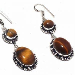 Ot 1030c boucles pendants oreilles 13gr oeil de tigre argent 925 achat vente bijoux 1 1