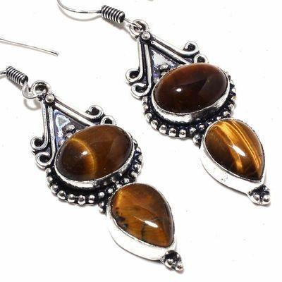 Ot 1033c boucles pendants oreilles 13gr oeil de tigre argent 925 achat vente bijoux 1 1