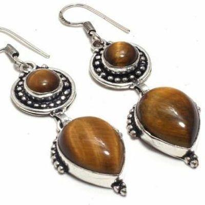 Ot 1035c boucles pendants oreilles 14gr oeil de tigre argent 925 achat vente bijoux 1 1