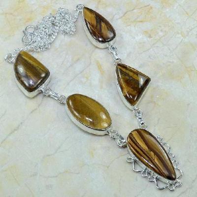 Ot 7818a collier parure sautoir oeil de tigre argent 925 achat vente bijoux