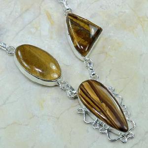 Ot 7818c collier parure sautoir oeil de tigre argent 925 achat vente bijoux