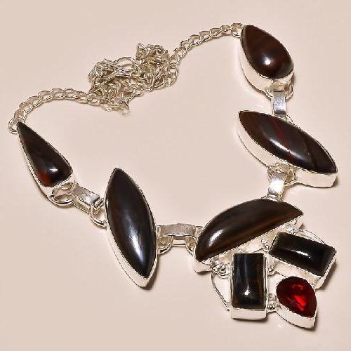 Ot 7825a collier parure sautoir oeil de tigre argent 925 achat vente bijoux
