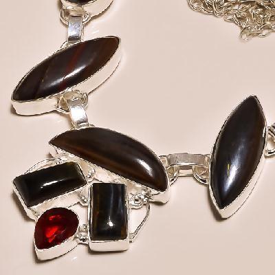 Ot 7825b collier parure sautoir oeil de tigre argent 925 achat vente bijoux