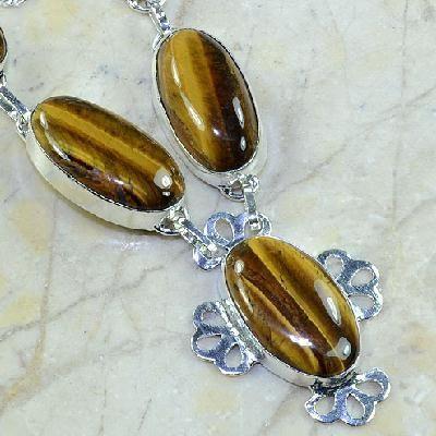 Ot 7828c collier parure sautoir oeil de tigre argent 925 achat vente bijoux