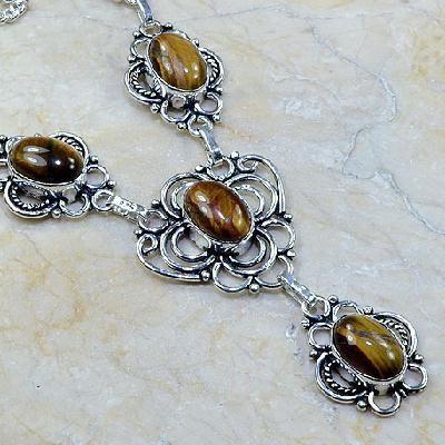 Ot 7829c collier parure sautoir oeil de tigre argent 925 achat vente bijoux