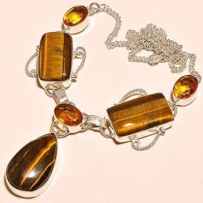 Ot 7830a collier parure sautoir oeil de tigre citrine argent 925 achat vente bijoux