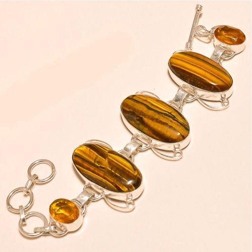 Ot 7831b bracelet oeil de tigre citrine argent 925 achat vente bijoux 1