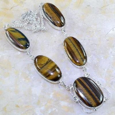 Ot 7845a collier parure sautoir oeil de tigre argent 925 achat vente bijoux