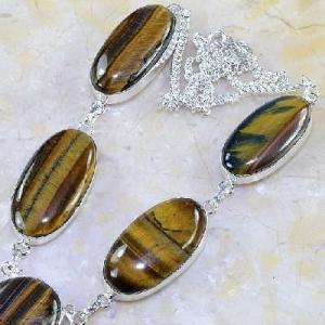 Ot 7845b collier parure sautoir oeil de tigre argent 925 achat vente bijoux