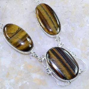 Ot 7845c collier parure sautoir oeil de tigre argent 925 achat vente bijoux