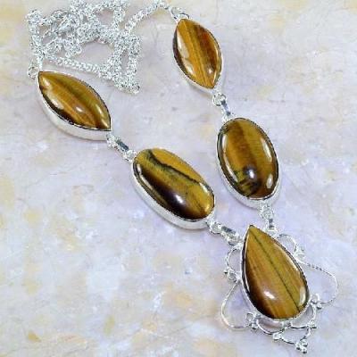Ot 7848a collier parure sautoir oeil de tigre argent 925 achat vente bijoux