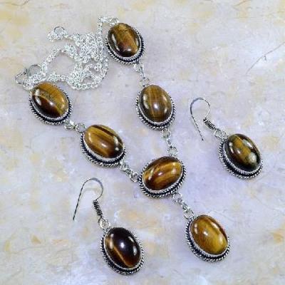 Ot 7850a parure collier boucles oreilles sautoir oeil de tigre argent 925 achat vente bijoux