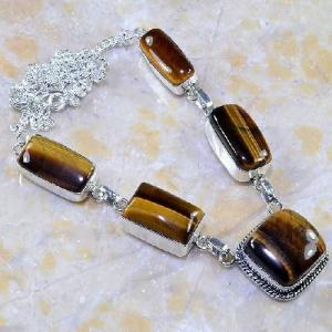 Ot 7855a collier parure sautoir oeil de tigre argent 925 achat vente bijoux