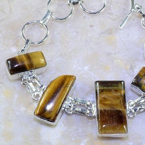 Ot 7857b bracelet oeil de tigre argent 925 achat vente bijoux