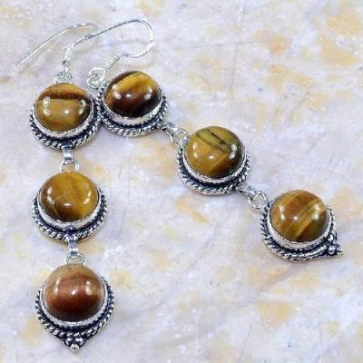 Ot 7861a boucles pendants oreilles oeil de tigre argent 925 achat vente bijoux 1