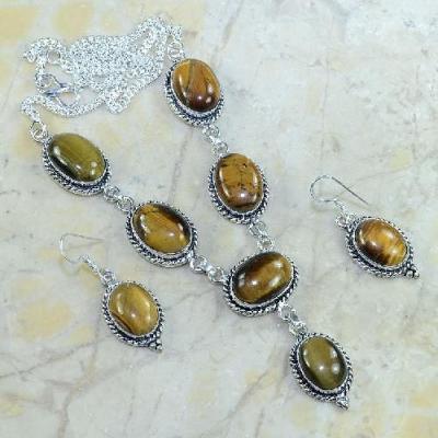 Ot 7868a parure collier boucles oreilles sautoir oeil de tigre argent 925 achat vente bijoux