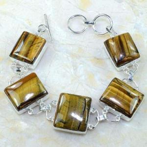 Ot 7884b bracelet oeil de tigre monture argent 925 achat vente bijoux