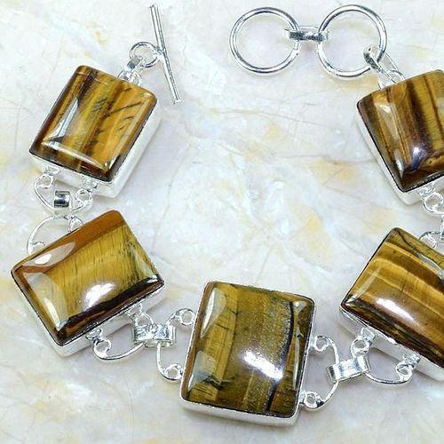 Ot 7884c bracelet oeil de tigre monture argent 925 achat vente bijoux