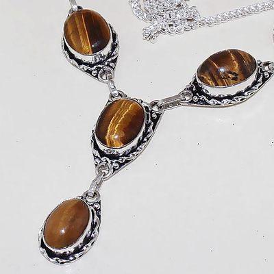 Ot 7885b collier parure sautoir oeil de tigre argent 925 achat vente bijoux