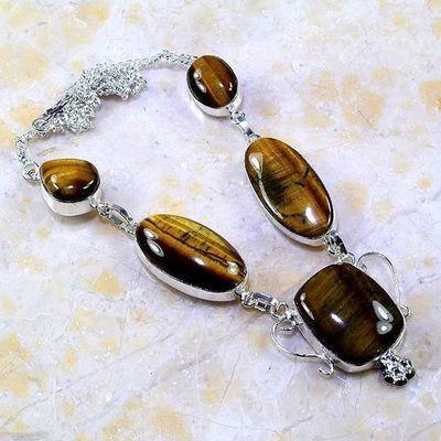 Ot 7889a collier parure sautoir oeil de tigre argent 925 achat vente bijoux