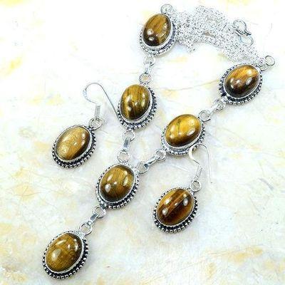 Ot 7953a collier parure sautoir oeil de tigre argent 925 achat vente bijoux