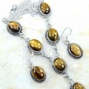 Ot 7953c collier parure sautoir oeil de tigre argent 925 achat vente bijoux