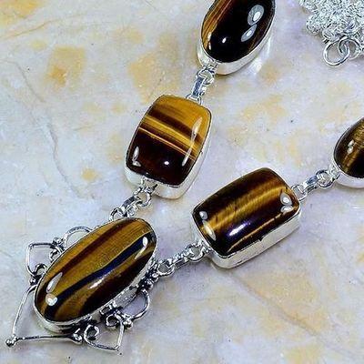 Ot 7955b collier parure sautoir oeil de tigre argent 925 achat vente bijoux