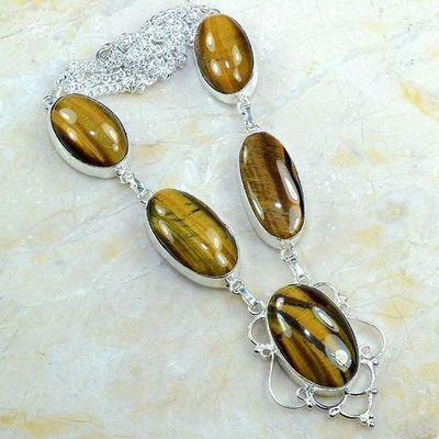 Ot 7956a collier parure sautoir oeil de tigre argent 925 achat vente bijoux
