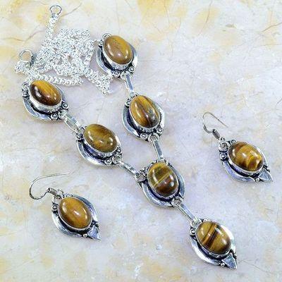 Ot 7957a parure collier boucles oreilles oeil de tigre argent 925 achat vente bijoux