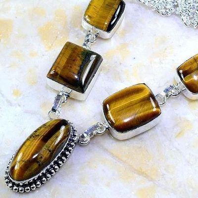 Ot 7958b collier parure sautoir oeil de tigre argent 925 achat vente bijoux