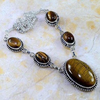 Ot 7961a collier parure sautoir oeil de tigre argent 925 achat vente bijoux