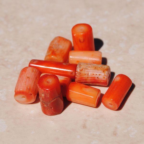 Pcr 003 2 perles corail orange tube achat vente loisirs creatifs