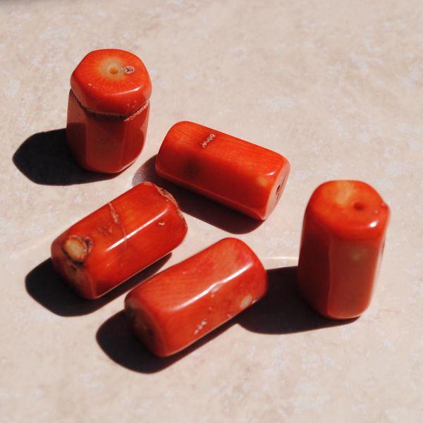 Pcr 022 1 perles corail roses facettee hexagonale polies achat vente loisirs creatifs
