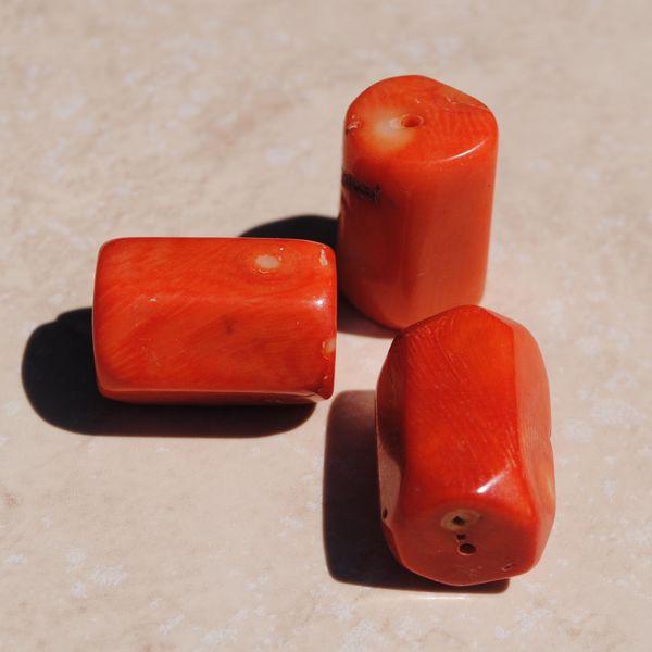 Pcr 023 3 perles corail roses facettee hexagonale polies achat vente loisirs creatifs