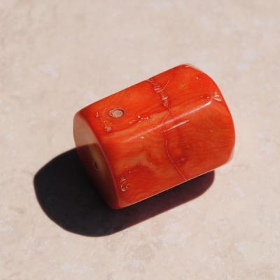 Pcr 024 3 perles corail roses facettee hexagonale polies achat vente loisirs creatifs